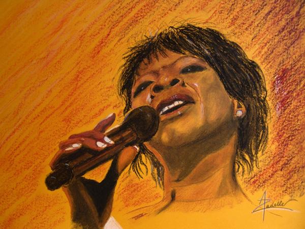 Irma Thomas, pastel à l'huile, 45x35cm, d'après une photo de Jacques Lauber (Montreux Jazz Festival 2006).