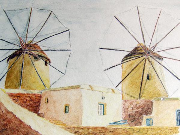 Moulins à Mykonos, crayon aquarelle, 30x21cm, d'après une photo prise par Azadelle dans les Cyclades.
