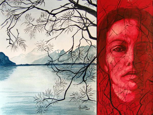 A gauche: Haut-Lac, crayon aquarelle, 21x30cm, d'après une photo prise par Azadelle sur les quais de Montreux. A droite: Visage en rouge et noir, gouache, 11.5x25cm.