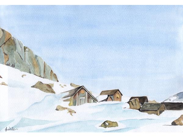 Chalets à la Berneuse, aquarelle, 30x21 cm, d'après une photo de Jacques Lauber