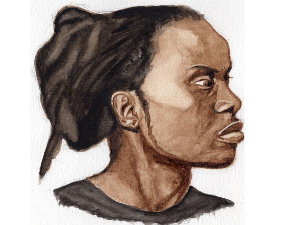 Portrait, aquarelle, 15x15 cm