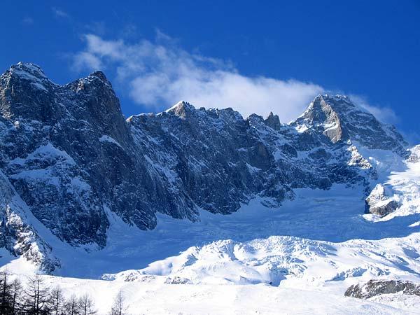 Montagnes et glacier au bout du Val Ferret (Valais)...