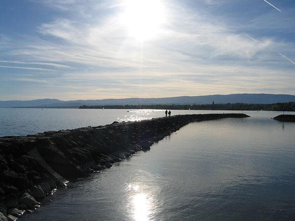 Lausanne: le bord du lac à Vidy.