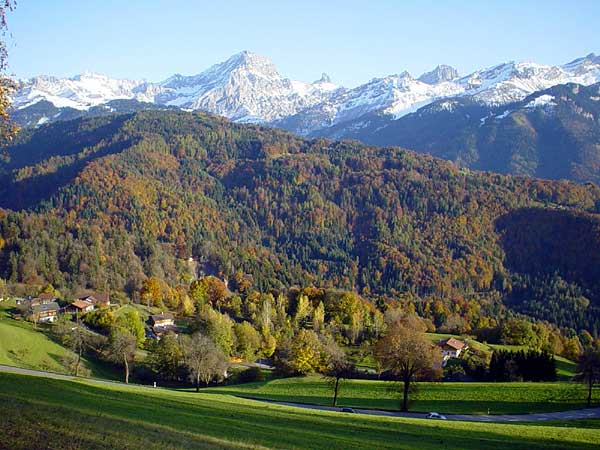 Couleurs d'automne quelque part sur la route du col de la Croix, au-dessus de Villars.