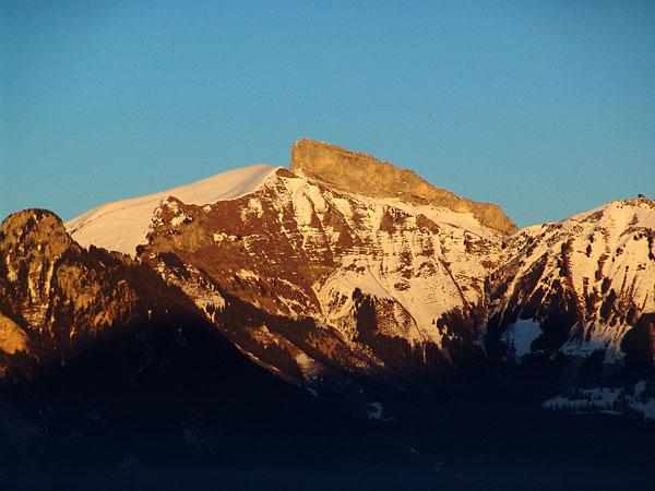 Vue sur les hauts de Leysin depuis Torgon (Valais), 15 janvier 2005.