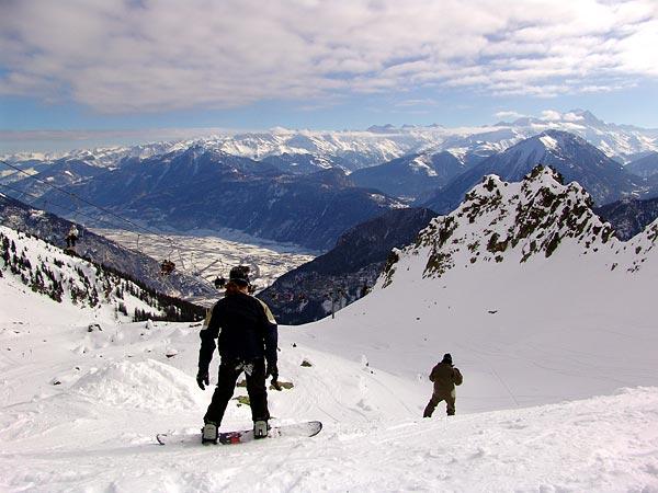 Sur le domaine skiable des Marécottes, 6 février 2005.
