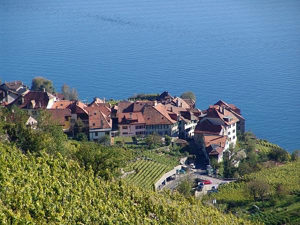 Vue sur le village de Rivaz, octobre 2005.