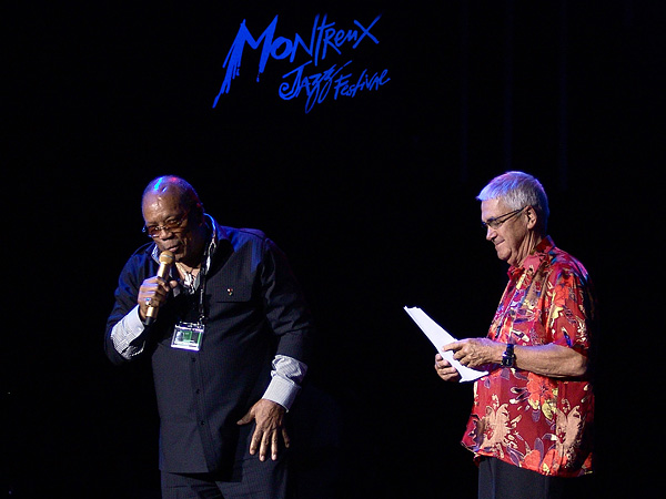 Montreux Jazz Festival 2009, Tribute to Chris Blackwell: Quincy Jones & Claude Nobs introducing the founder of Island Records just before Third World, July 10, Auditorium Stravinski.