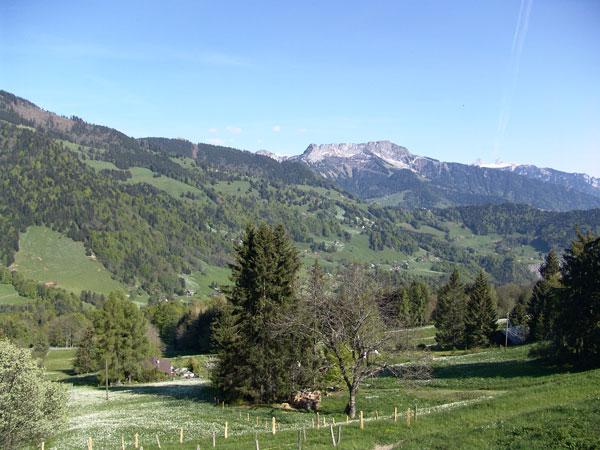 Vue sur le Vallon de Villard et le massif des Rochers-de-Naye depuis les Pléiades, mai 2010.