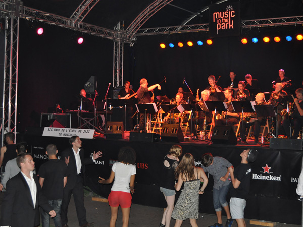 Montreux Jazz Festival 2010: Big Band de l'Ecole de Jazz de Montreux (jazz from Switzerland). July 5, Music in the Park (Parc Vernex).