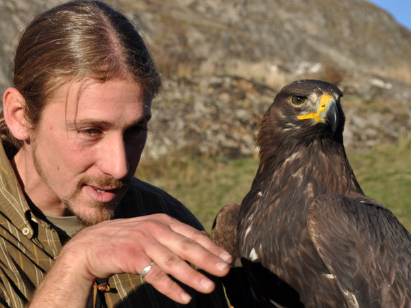 Démonstration de fauconnerie sur la colline de Valère à Sion avec Benoît Delbeauve, fauconnier, Sédun, faucon pèlerin, et Kanghaï, aigle royal.
