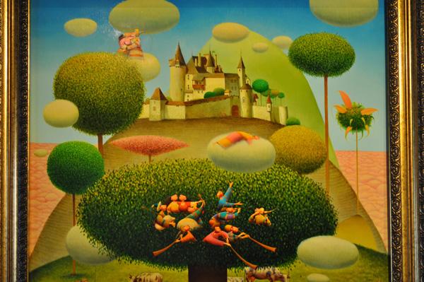 Aspects de l'exposition permanente d'art fantastique au Château de Gruyères, mars 2012.
