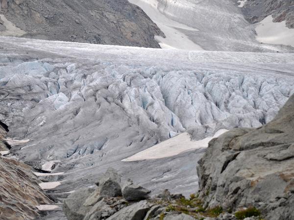 Paysage du col de la Furka, août 2012. Vue sur le Glacier du Rhône.