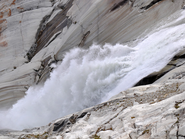 Paysage du col de la Furka, août 2012. Côté Valais, au-dessous du Glacier du Rhône.