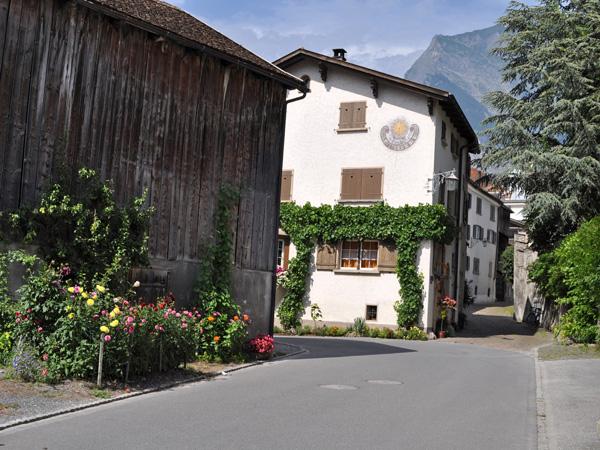 Maienfeld, Heidi village at the Northern end of Graubünden, August 2012.