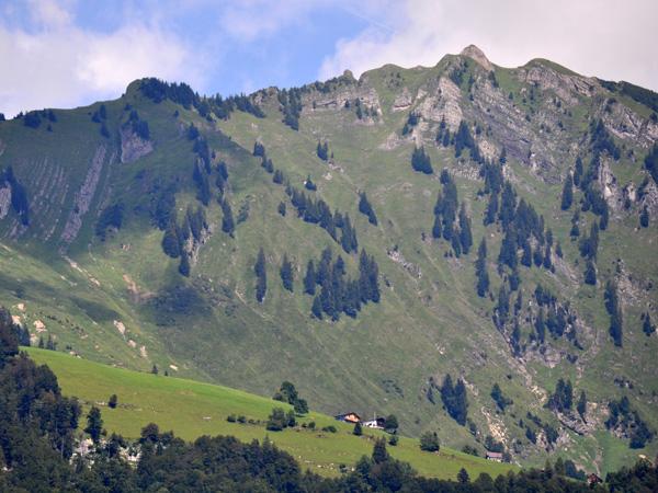 Over Walensee, landscape of the Churfirsten mountain range, Canton of St. Gallen, August 2012.