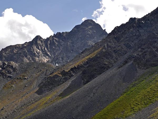 The Flüela Pass, connecting Davos to Engadin, in Grischun (Graubünden), Southeastern Switzerland, August 2012.