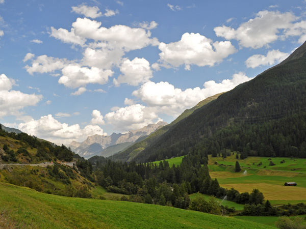 Landscape of Lower Engadin, in Grischun (Graubünden), August 2012. Along the road to Scuol, between the villages of Susch and Ardez.