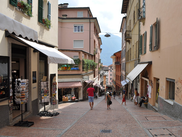 Rather cloudy day in Lugano, biggest city of Ticino (Tessin), August 2012, just before a summer storm.