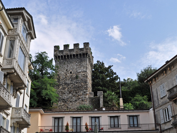 Rather cloudy day in Bellinzona, capital of Ticino (Tessin), August 2012, just before a summer storm.