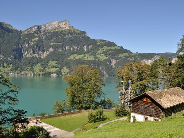 The legend of William Tell: Tellsplatte and Tellskapelle (Tell's Chapel - Chapelle de Tell), Sisikon, Central Switzerland, August 2012.
