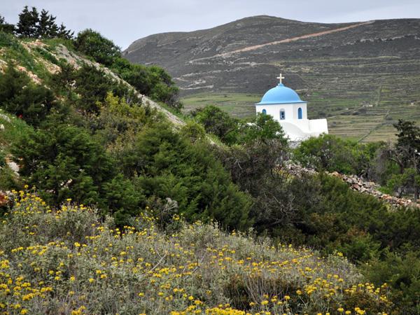 Paros, Cyclades, avril 2013. Eglise Aghios Antonios, sous le monastère de Panaghia Logovardha.